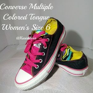 Converse Multiple Colored Tongue Shoes Size 6 GUC